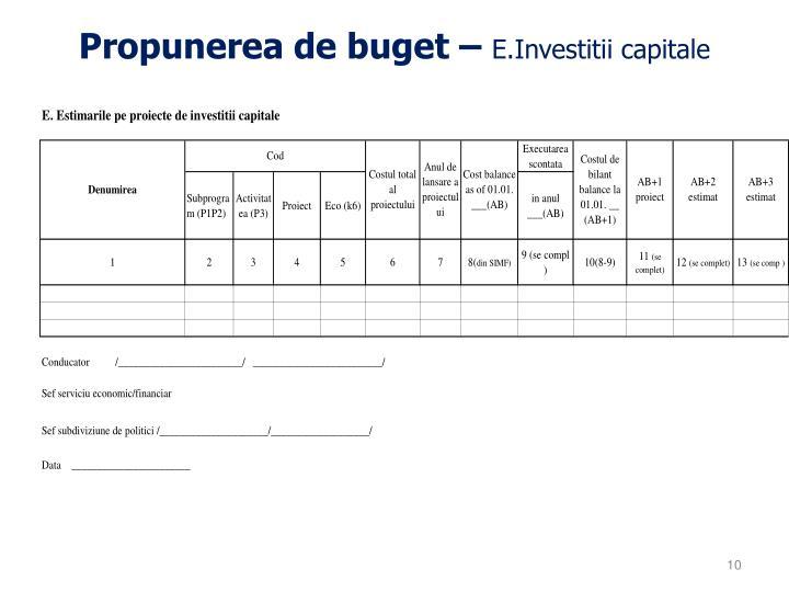 Propunerea de buget –