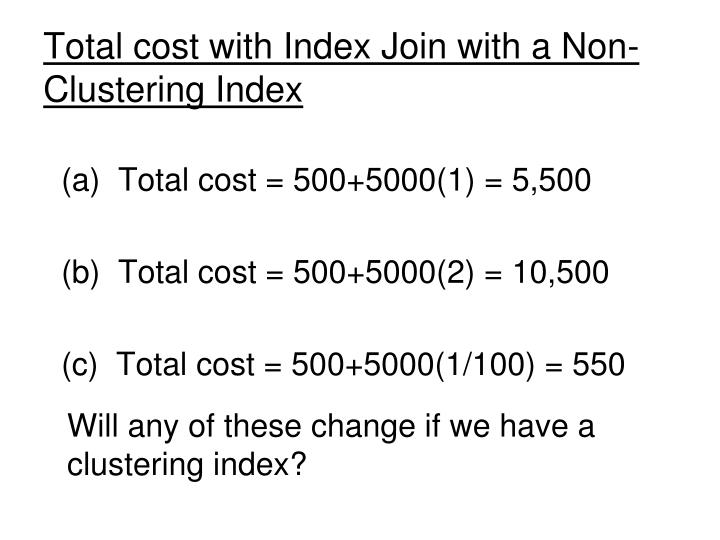 Total cost with Index Join with a Non-Clustering Index