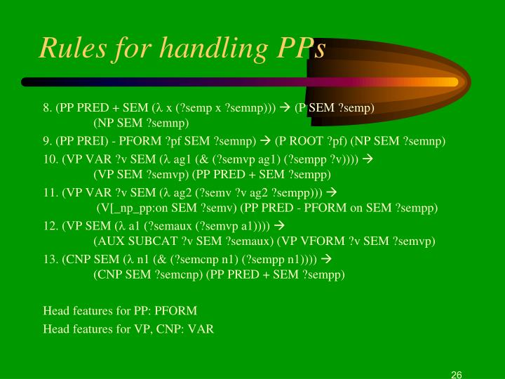 Rules for handling PPs