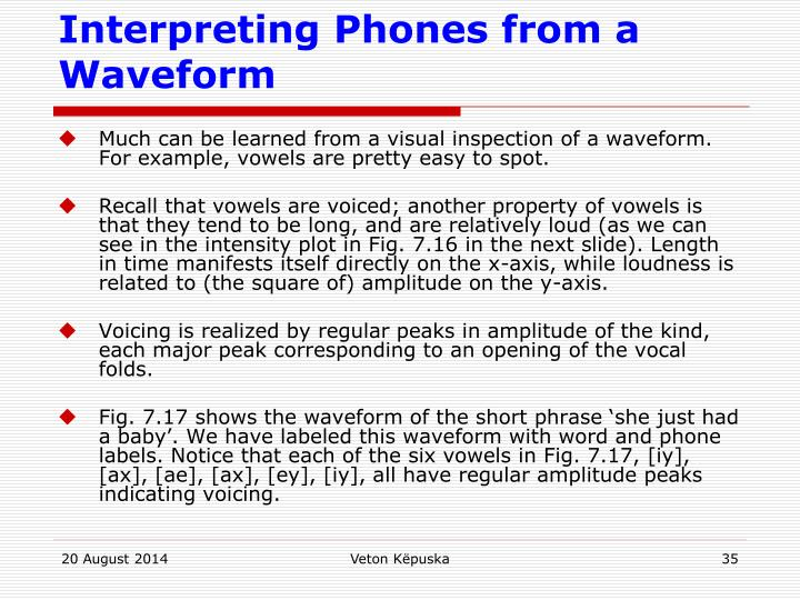 Interpreting Phones from a Waveform