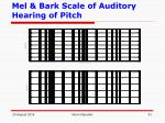 mel bark scale of auditory hearing of pitch