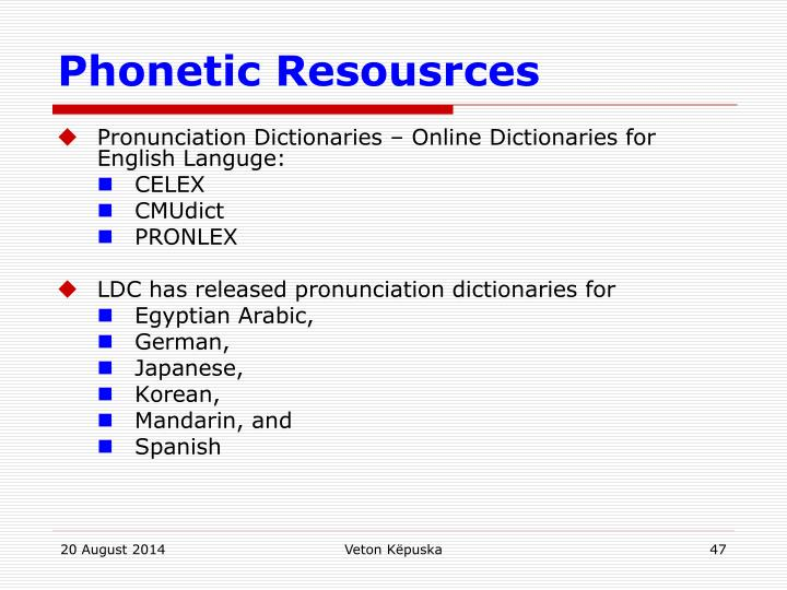 Phonetic Resousrces