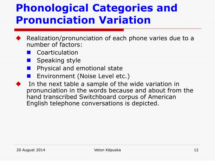 Phonological Categories and Pronunciation Variation