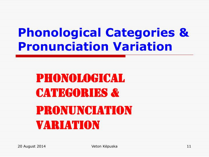 Phonological Categories &
