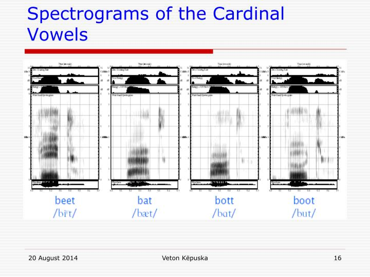 Spectrograms of the Cardinal Vowels