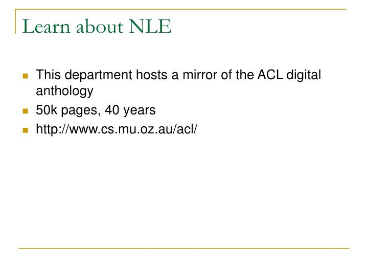 Learn about NLE