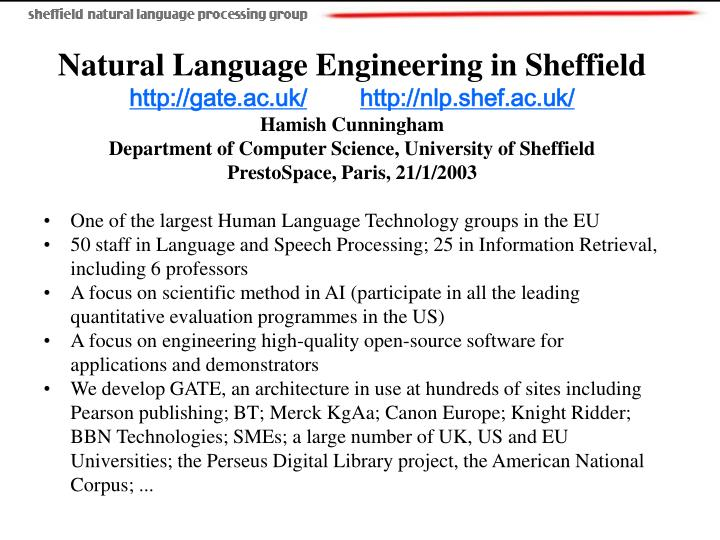 Natural Language Engineering in Sheffield
