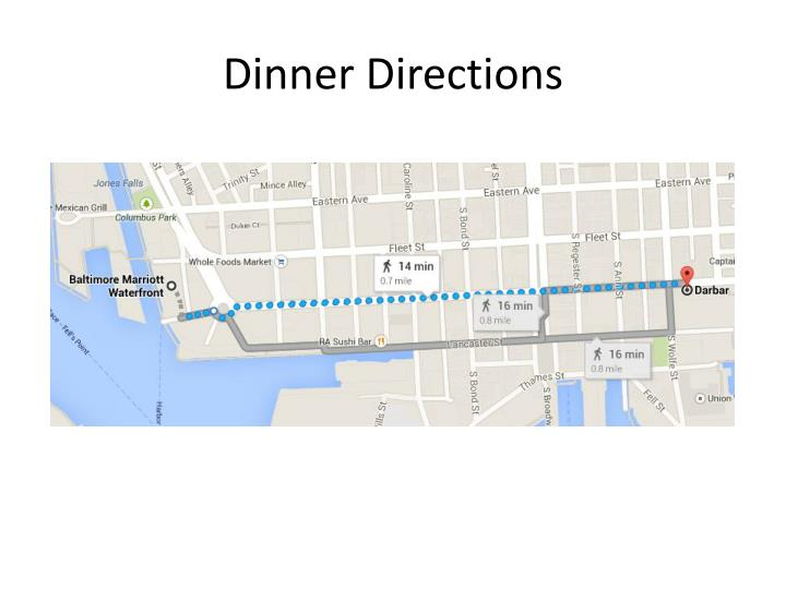 Dinner Directions