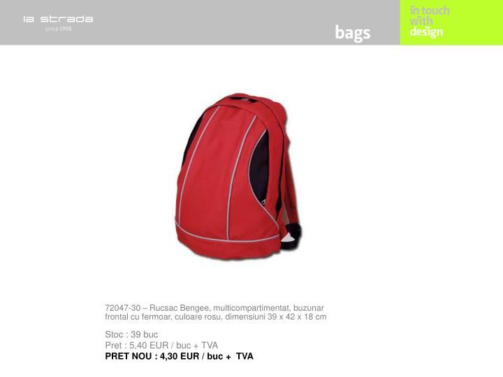 72047-30 – Rucsac Bengee, multicompartimentat, buzunar frontal cu fermoar, culoare rosu, dimensiuni 39 x 42 x 18 cm
