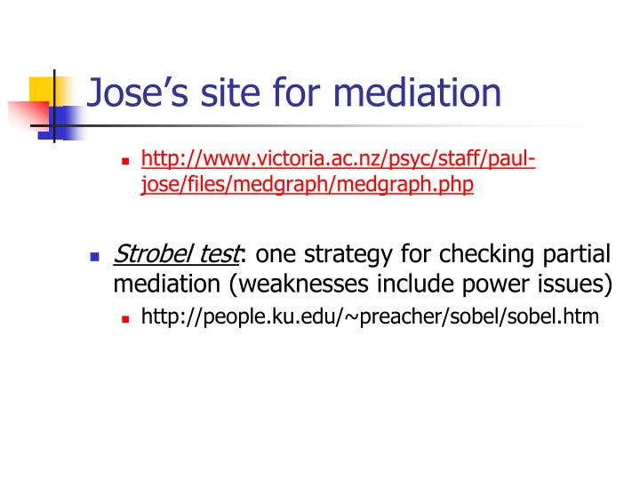 Jose's site for mediation