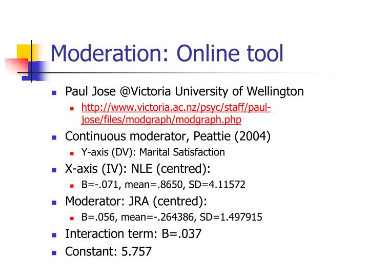 Moderation: Online tool
