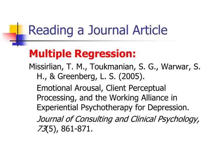 Reading a Journal Article