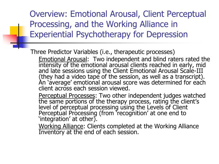 Overview: Emotional Arousal, Client Perceptual Processing, and the Working Alliance in Experiential Psychotherapy for Depression