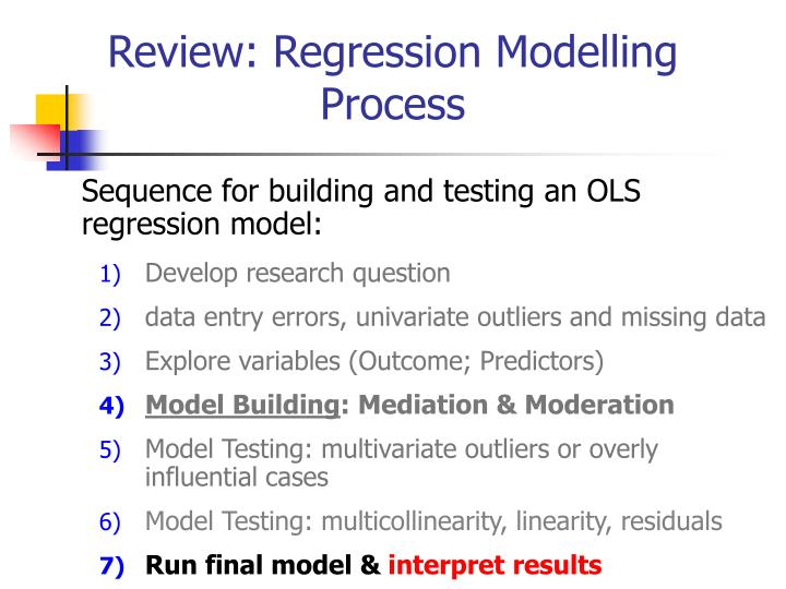 Review: Regression Modelling Process
