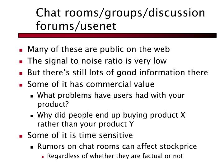Chat rooms/groups/discussion forums/usenet