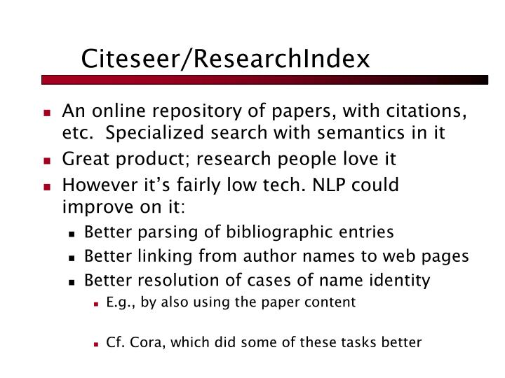 Citeseer/ResearchIndex