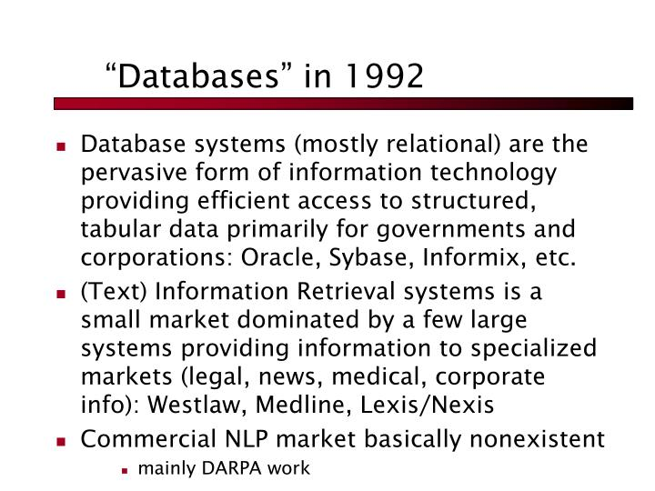 """Databases"" in 1992"