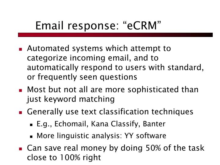 "Email response: ""eCRM"""