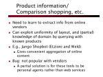product information comparison shopping etc