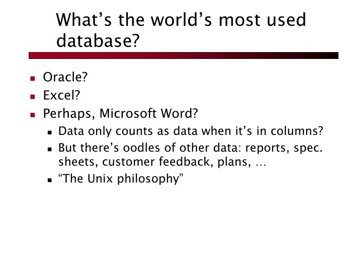 What's the world's most used database?