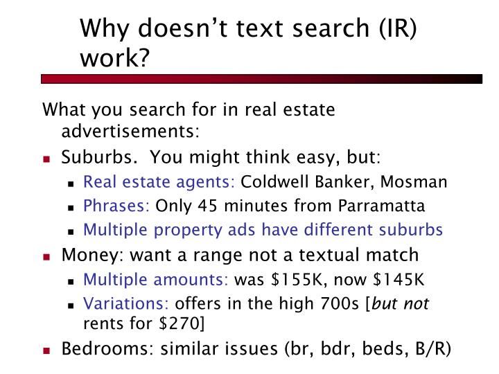 Why doesn't text search (IR) work?