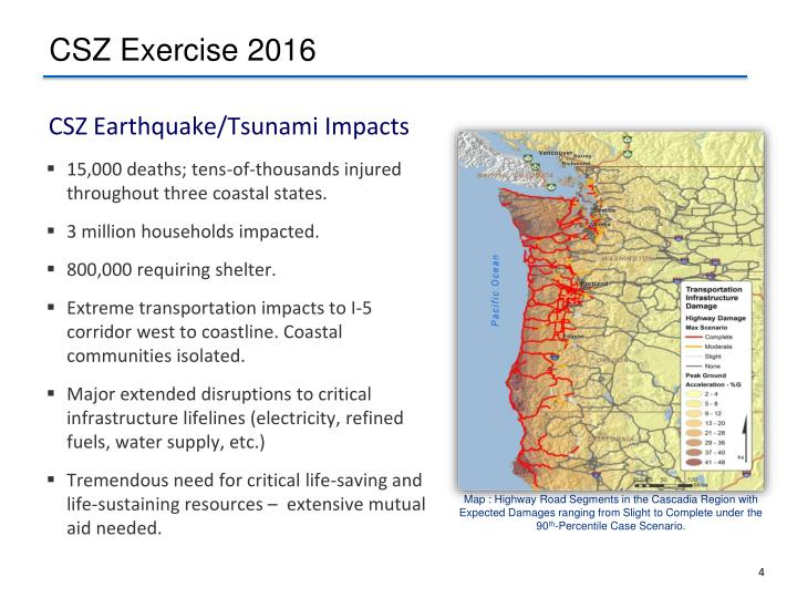 Map : Highway Road Segments in the Cascadia Region with Expected Damages ranging from Slight to Complete under the 90