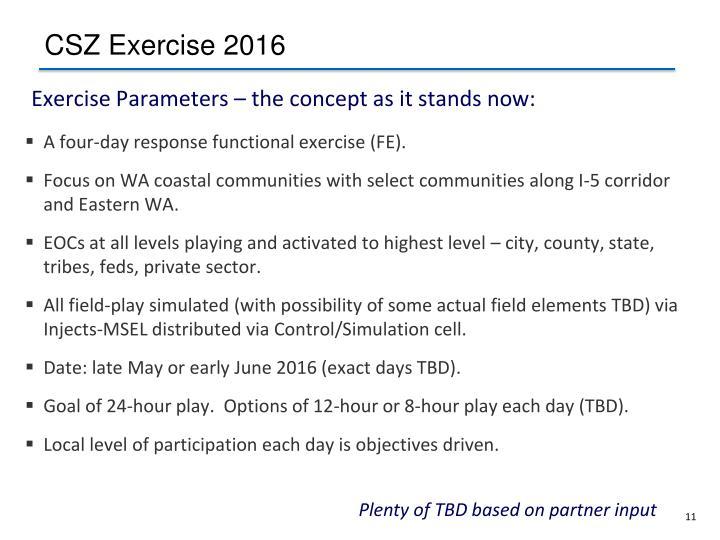 CSZ Exercise 2016