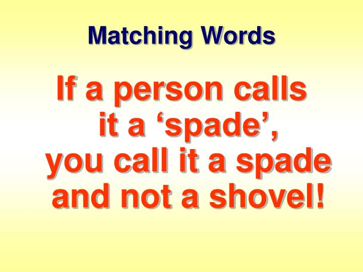 Matching Words