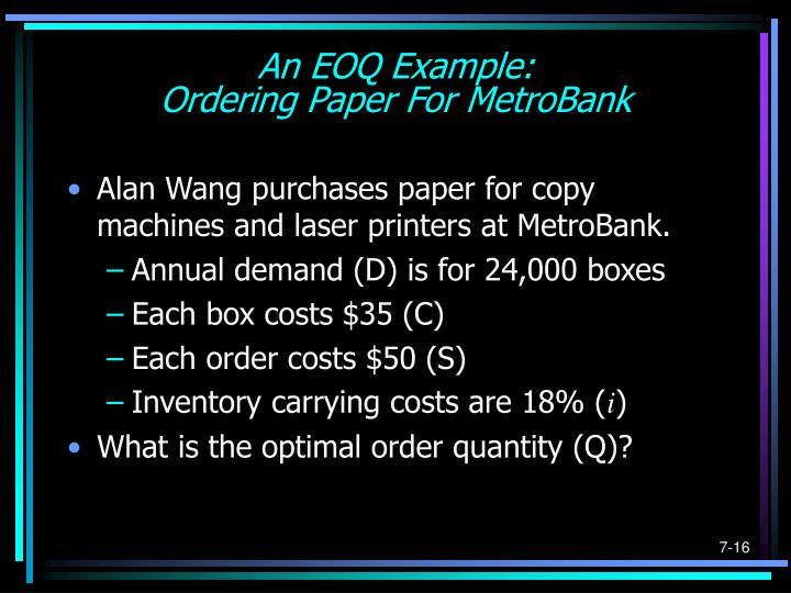 An EOQ Example: