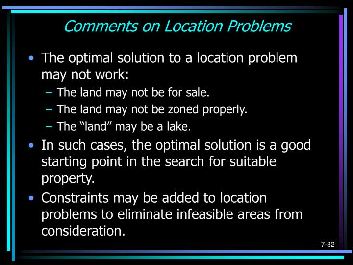 Comments on Location Problems