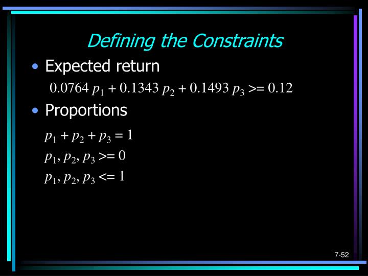 Defining the Constraints
