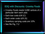 eoq with discounts crowley foods