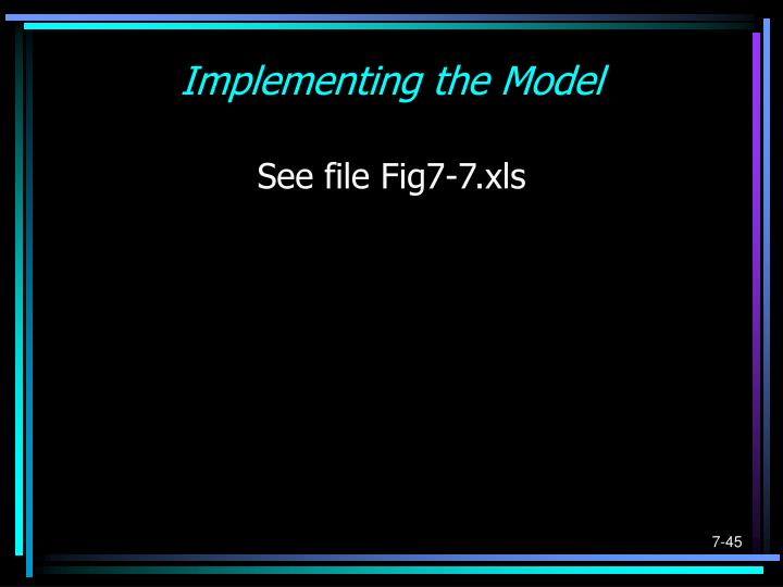 Implementing the Model