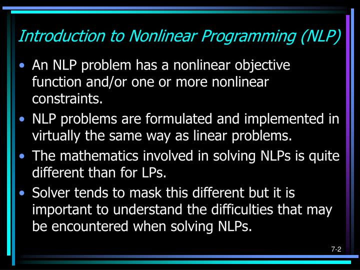 Introduction to nonlinear programming nlp