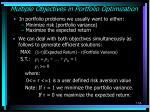 multiple objectives in portfolio optimization