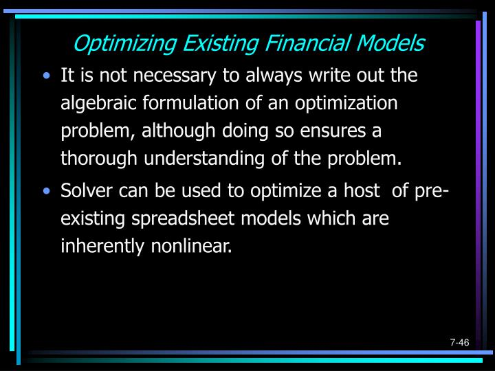 Optimizing Existing Financial Models