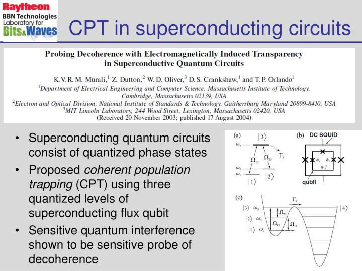 CPT in superconducting circuits