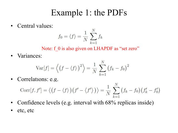 Example 1: the PDFs