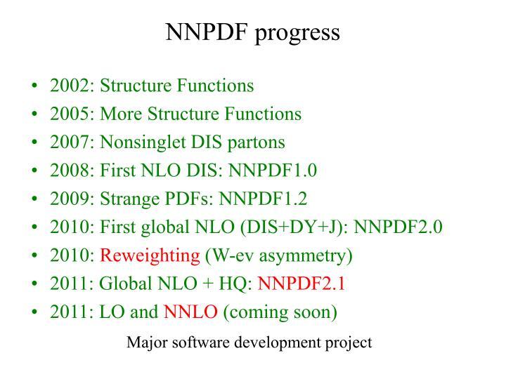 NNPDF progress