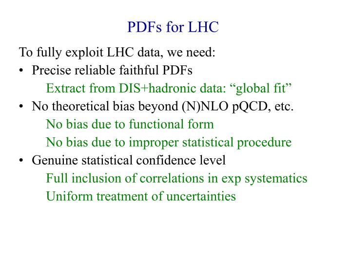 PDFs for LHC