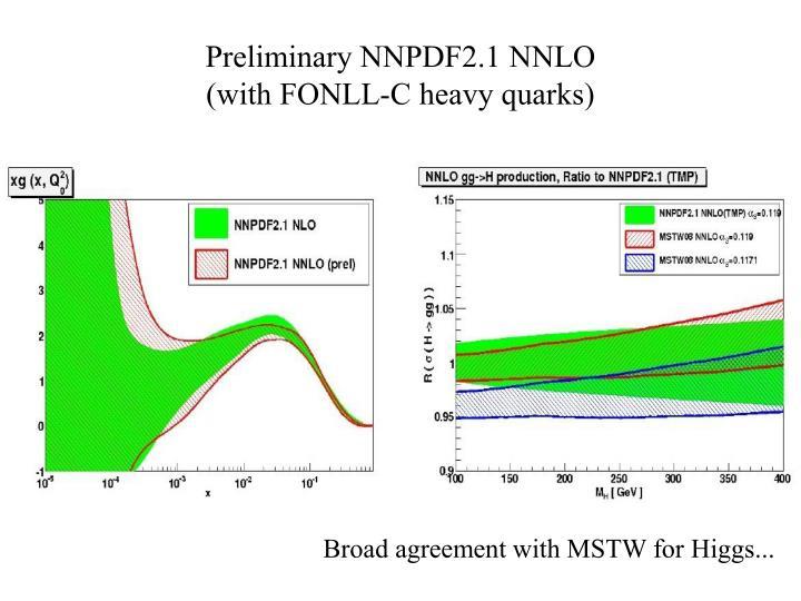 Preliminary NNPDF2.1 NNLO
