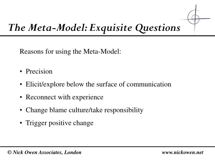 The Meta-Model: Exquisite Questions