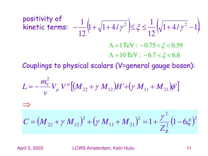 positivity of kinetic terms: