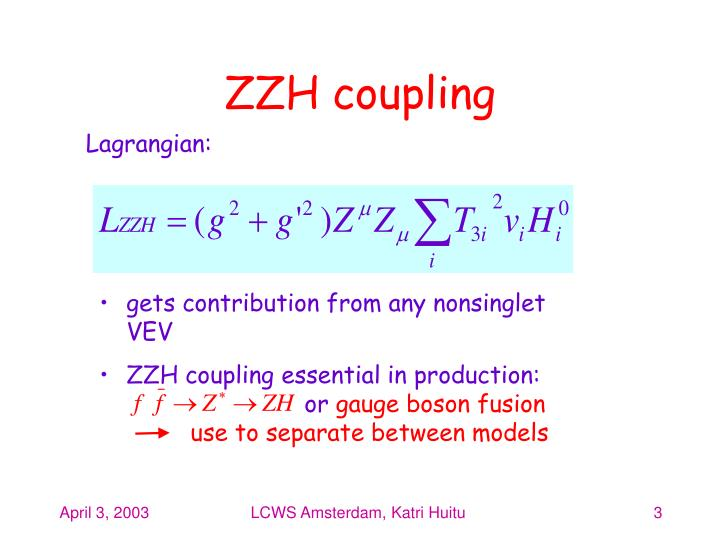 ZZH coupling