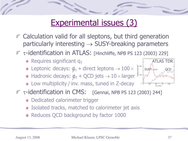 Experimental issues (3)