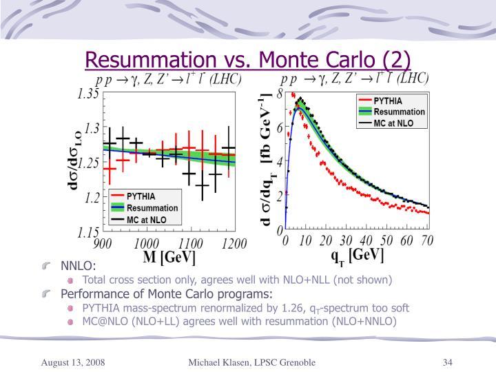 Resummation vs. Monte Carlo (2)