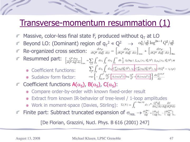 Transverse-momentum resummation (1)