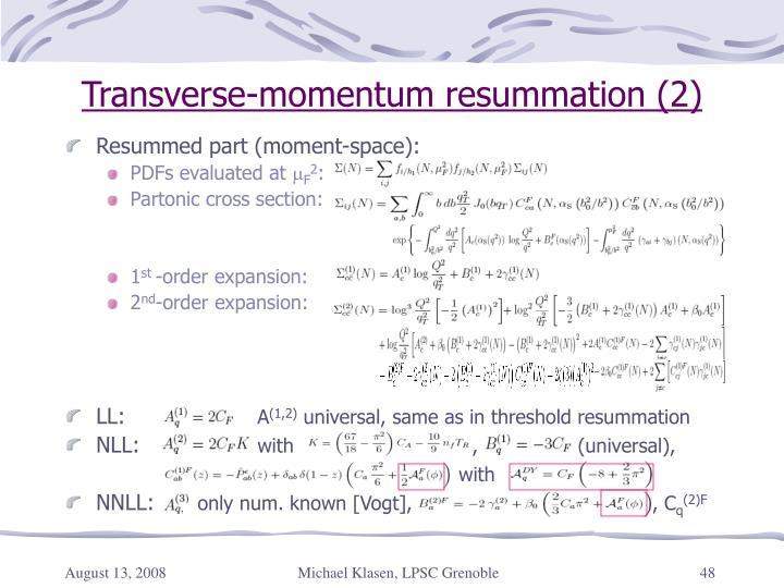 Transverse-momentum resummation (2)