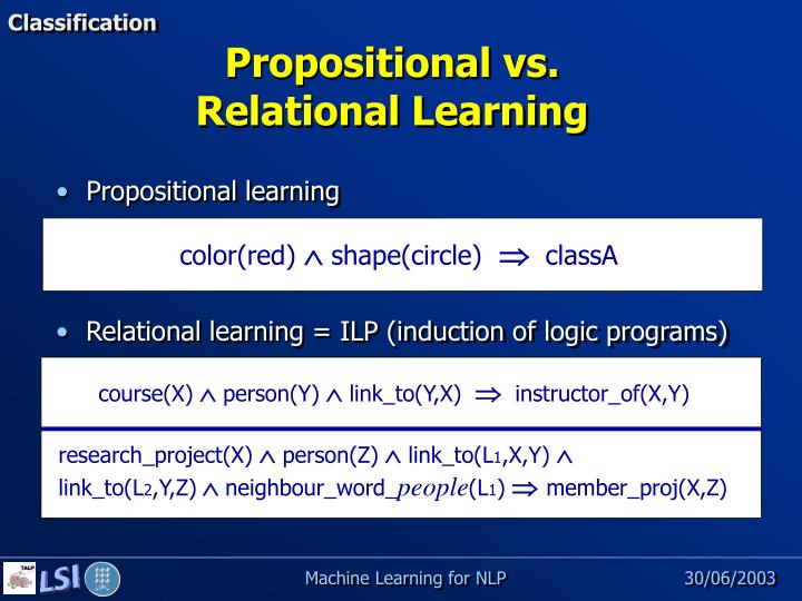Relational learning = ILP (induction of logic programs)