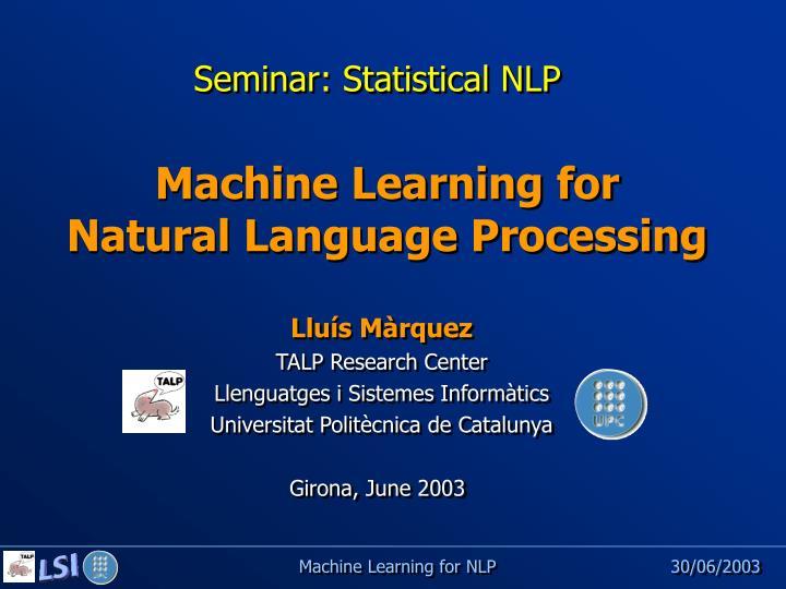 Seminar: Statistical NLP